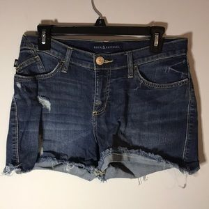 ROCK & REPUBLIC RIPPED HIGH WAISTED JEAN SHORTS